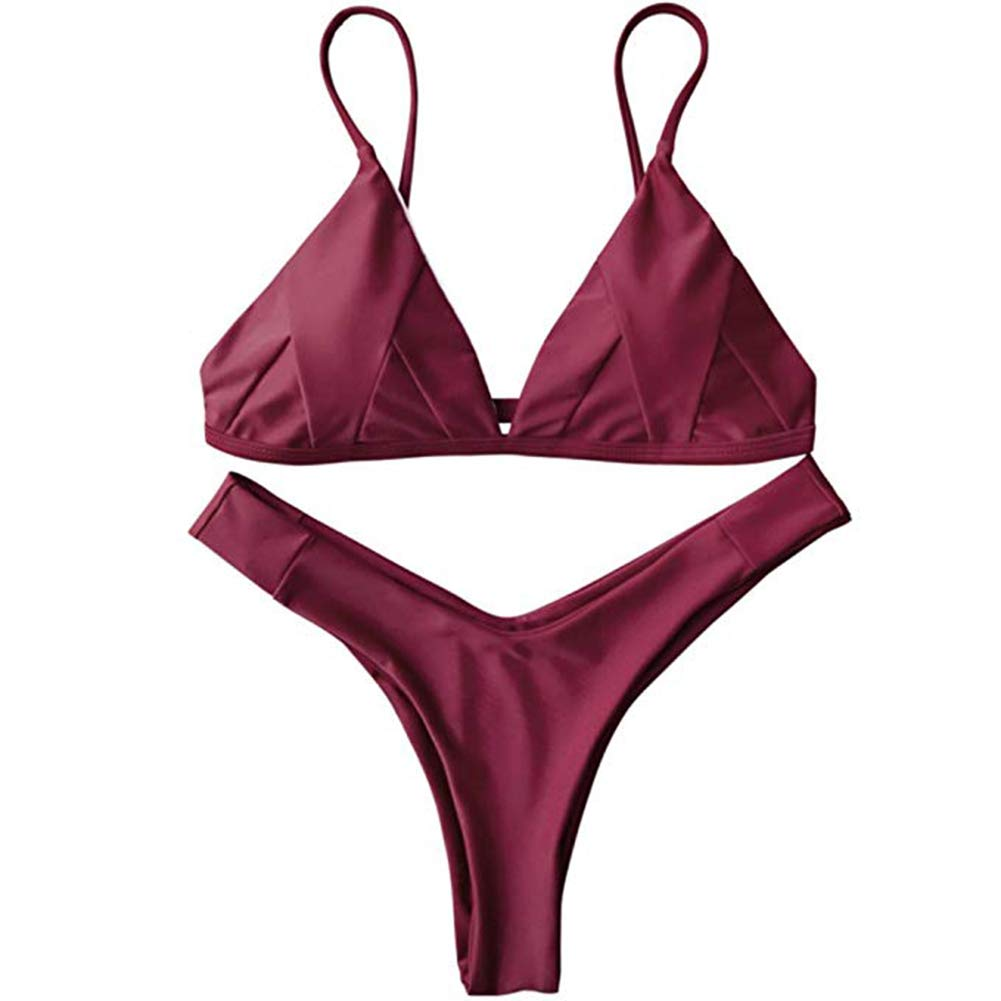 IMIDO Womens Sexy Thong String Soft Padded Bikini Set Two Piece Swimsuits Swimwear String Bathing Suit (XL, Wine Red)