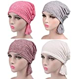 Slip-On Cotton Chemo Beanies Turban Head Scarves Pre-Tied Bandana for Cancer Patients Hair Loss (#2)
