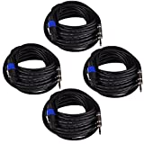 Seismic Audio SASPT12-50-4Pack 50-Feet Pro Audio Speakon to 1/4-Inch Speaker Cables 12-Gauge, 4 Pack