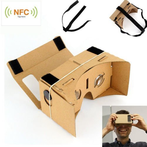 BeauteCa Google Cardboard 3D Glass DIY Complete Kit Virtual Reality Compatible with Android & Apple iphone Samsung HTC Xiaomi Smartphone including Adjustable Head Strap