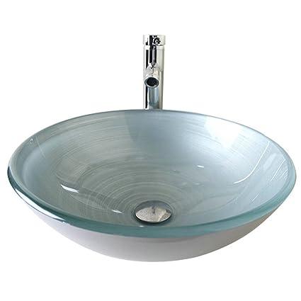 HomeLava Lavabo Vasque en Verre Trempé Argent, à poser la salle de bain  ,garantie de 2ans(Sans Robinet)