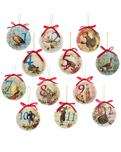 Kurt Adler 85mm Decoupage Ball Ornament Set of 12, 12 Piece (Set Ornament Decoupage)
