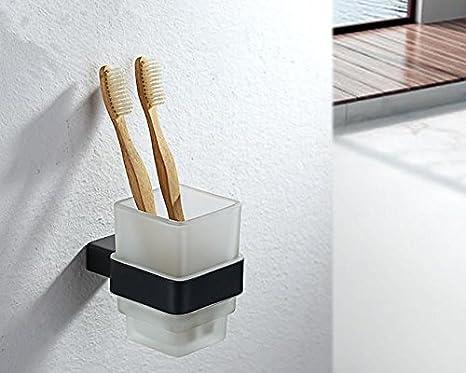 evebh cuadrado único vaso para cepillos de dientes, negro # evebh01: Amazon.es: Hogar