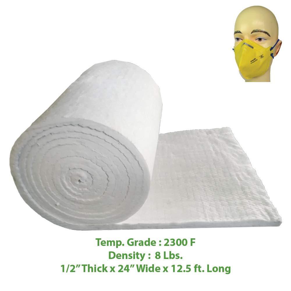 Ceramic Fiber Blanket (2300F, 8# Density) (1/2'' x 24'' x 12.5') Ovens, Kilns, Furnaces, Glass Work and Chimney Insulation