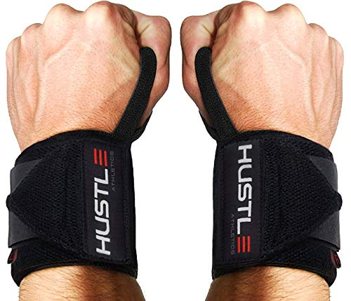 Hustle Wrist Wraps - Many Colors - Best Support for Weightlifting Bodybuilding & Crossfit - Brace Your Wrists to Train Harder & Reduce Muscle Strain - Comfortable Workout Straps for Men & Women