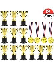 YuChiSX 24 stuks Award Trofeeën Medailles Set, Winnaar Prijs Trofeeën Mini Plastic Trofee Bekers, Mini Trofeeën, Gold Kunststof Plastic, Goud Awards Winnaar Medailles voor Feestzakvullers