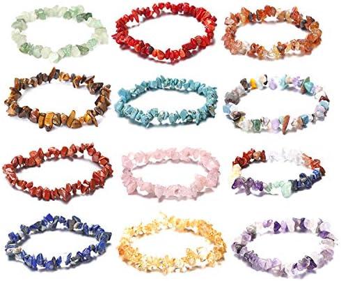 MIsha 5Pcs 7 Chakra Healing Irregular Natural Gemstone Chip Pulseras Set para Mujeres Pulseras únicas de Moda