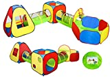 UTEX Pop Up Play Tents with 2 Tunnels and Ball Pit/w Basketball Hoop for Kids, Boys, Girls, Babies and Toddlers, Indoor/Outdoor Playhouse (6 in 1)