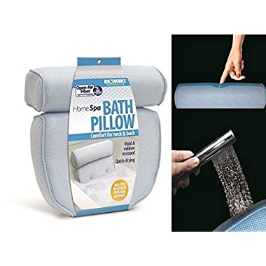 Ideaworks - Home Spa Bath Pillow, 14 x 13 x4 , Neck & Back Comfort