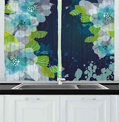 Ambesonne Navy Kitchen Curtains, Sketchy Abstract Blossoms F