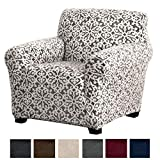 chair slip cover  Modern Velvet Plush Strapless Slipcover. Form Fit Stretch, Stylish Furniture Cover/Protector. Gale Collection Brand. (Chair, Snowflake - Wild Dove Grey)