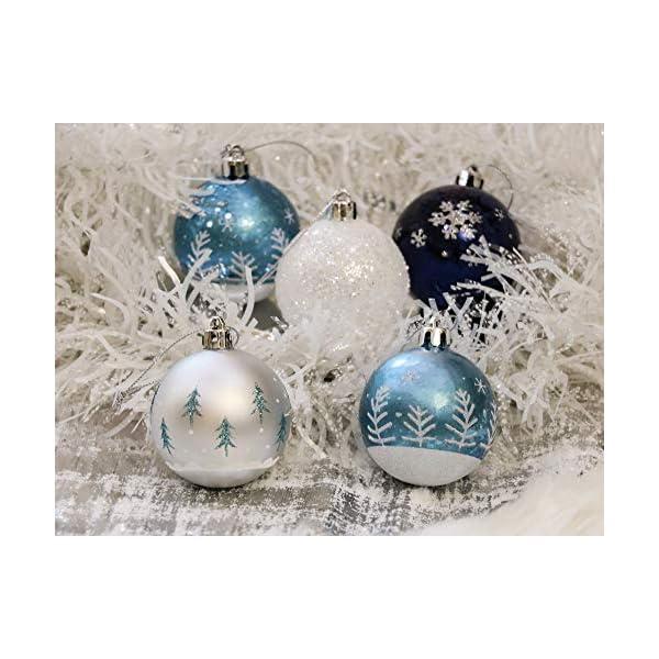 Valery Madelyn Palle di Natale 9 Pezzi 6cm Palle di Natale, Winter Wishes Argento e Blu Infrangibile Palla di Natale Ornamenti Decorazione per la Decorazione Dell'Albero di Natale 7 spesavip
