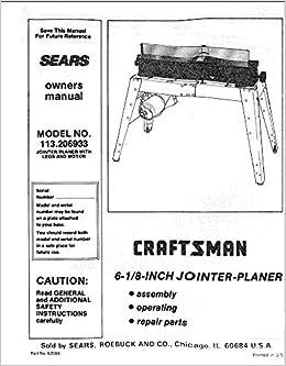 craftsman jointer planer manual