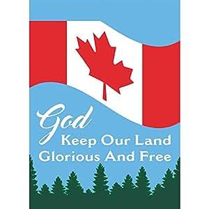 Dios mantener nuestra tierra de la bandera canadiense rojo y blanco 13x 18rectangular pequeño jardín bandera