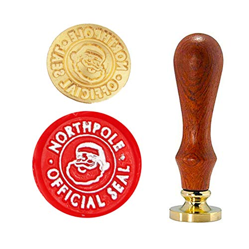 YGHM Christmas Santa Claus Head Northpole Official Seal Wax Seal Stamp Elegangt Natural Rosewood Handle Sealing Wax Stamp Kit Gift Wine Package Wedding Invitations Card Envelope Letters Seal Stamp