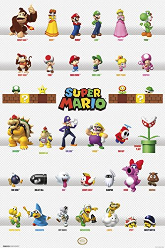 Super Mario Characters Poster 12x18 (80s Characters)