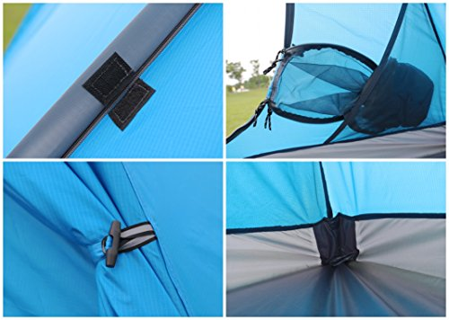 GEERTOP 3-4 Season Tent for Camping 2-3 Person Double Layer Lightweight Backpacking Freestanding Outdoor Hiking Waterproof Backpack Tents - Easy to Set Up 7 【Large Space】Tent size is 83(L) x 71(W) x 47.2(H), with extral vestibule to put the camping gears, luggage; it is a roomy camping travel dome tent with plenty of space for you and a family member or friends; Providing a comfortable and spacious outdoor shelter that comfortably fits 2 man or 3 person 【Waterproof Tent】Geertop 3 season tent - 210D PU5000 mm waterproof Oxford cloth ripstop floor + 210T PU3000 mm anti-tear plaid polyester tent fly while double-sided adhesive waterproof strip seam, ensure water does not make its way into the inside of tent , offer a comfortable camping experience 【Excellent Ventilation 】The camping inner tent made of 210T breathable polyester + high density fine nylon mesh with 2 doors + 2 ventilation windows + 2 vestibule, allowing for greater airflow throughout the tent, avoiding bothered by stuffiness