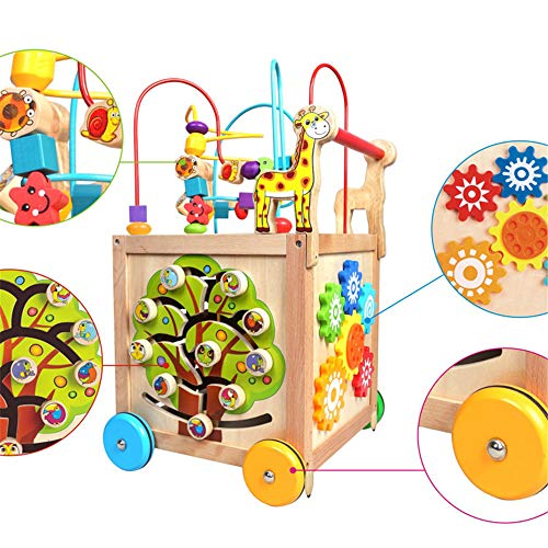 Techecho Puzzle Beads Labyrinth Roller Coaster Early Childhood Education Wooden Activity Cube 5 in 1 Center Multifunctional Wooden Four-Wheeled Push Walker Wooden Educational Toy by Techecho (Image #3)