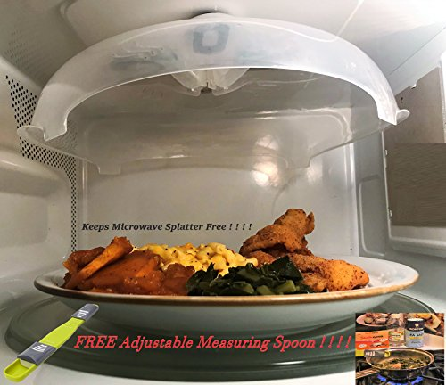 Punctilious Products-Premier Magnetic Microwave Plate Cover/ Free Precision Adjustable Measuring Spoon   Lid guards and protects microwave from unwanted splatter, Quality Magnets makes storage easy