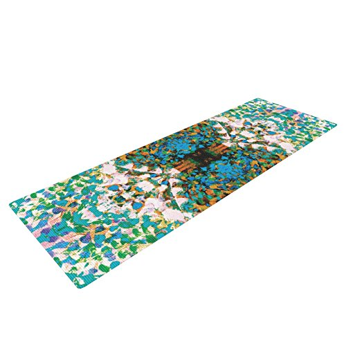 "Kess InHouse Nikposium ""Summer Breeze"" Yoga Exercise Mat, Blue/Teal, 72 x 24-Inch"