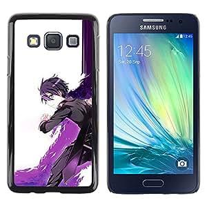 Caucho caso de Shell duro de la cubierta de accesorios de protección BY RAYDREAMMM - Samsung Galaxy A3 - Cartoon Espada Guerrero Púrpura