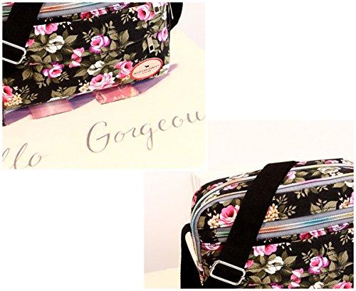 Feoya Bandolera de Colegio Mujer Rojo de Hombro de Mensajero Estampado Negro Floral Bolsa Viaje Bolso para Chicas rqEFnx5Cr4