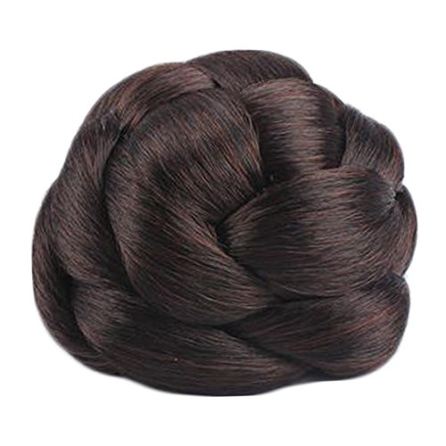 The Bun Maker Costume (Elegant Bride/Cosplayer Hair Bun Extension Braided Wigs Hair Bun, Dark)