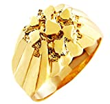 Men's Gold Nugget Rings - The King Solid Gold Nugget Ring(10K) (6)