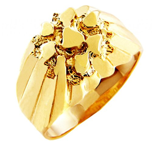 Men's Gold Nugget Rings - The King Solid Gold Nugget Ring(10K) (10)