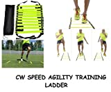 CW Brand New Speed Agility Ladder 4 Meter Long with 10 Adjustable Flat Rungs With Carry Bag Quickness Training Faster Footwork & better Movement Skills ,Exercise Workout Ladder for Football