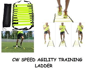 CW 6 m velocidad agilidad escalera para entrenamiento correas de nailon con 12 ajustable peldaños construido