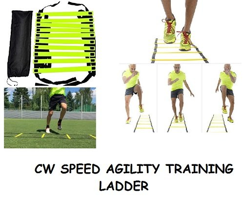 CW Brand New Speed Agility Ladder 4 Meter Long with 10 Adjustable Flat Rungs With Carry Bag Quickness Training Faster Footwork & better Movement Skills ,Exercise Workout Ladder for Football by C&W