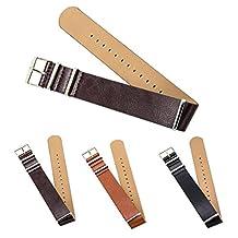 "CIVO Premium Leather NATO Watch Strap Zulu Military Swiss G10 Watch Band 18mm 20mm 22mm Standard & Extra Long (Dark Brown, 20mm - Standard (10""))"
