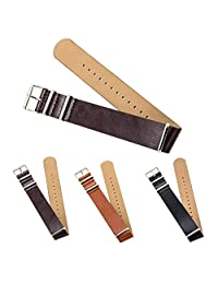 "CIVO Premium Leather NATO Watch Strap Zulu Military Swiss G10 Watch Band 18mm 20mm 22mm Standard & Extra Long (Dark Brown, 20mm - Standard (10""))"