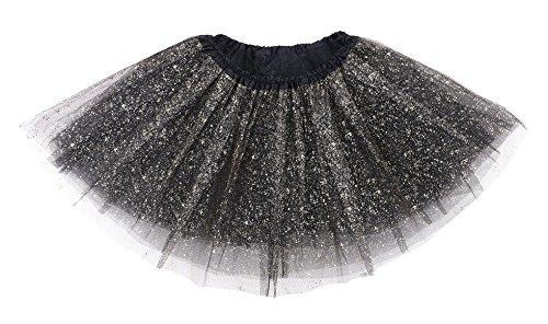 Girl's Vintage Glitter Layered Dress-Up Tulle Tutu Skirt w/ (Black Sparkly Dance Costumes)