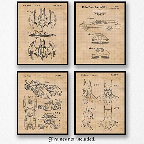 Collection Edge Womens Mobile (Original Batmobile Patent Art Poster Prints- Set of 4 (Four 8x10) Unframed Photos- Great Wall Art Decor Gift for Home, Office, Garage, Man Cave, Student, Teacher, Batman-ComicCon-Movies Fan)