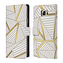 Official Project M Golden Abstract Lines Two Tone Leather Book Wallet Case Cover For Samsung Galaxy Note5 / Note 5