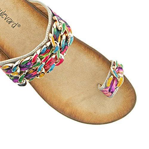 UK SLIP 3 LADIES FABRIC LOOP TOE LINK 36 KD L9527BG ON COLOURED SANDALS MULTI EU BOULEVARD nOq0F7wqS