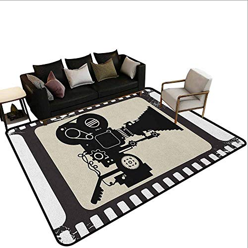Swimming Pool Anti-Skid Carpet Movie Theater,Movie Frame Pattern with Silhouette of Movie Reels in a Projector, Dark Taupe Beige Black