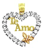 14k Tri Color Gold Spanish Love Te Amo Butterfly Heart Necklace Pendant
