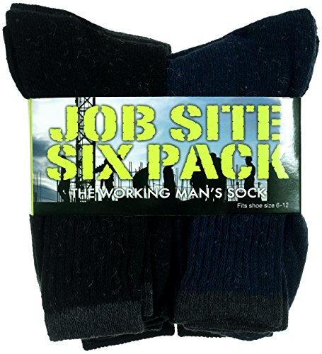 Men's Job Site Six Pack Moisture Wicking Reinforced Working Man's Socks-Pack