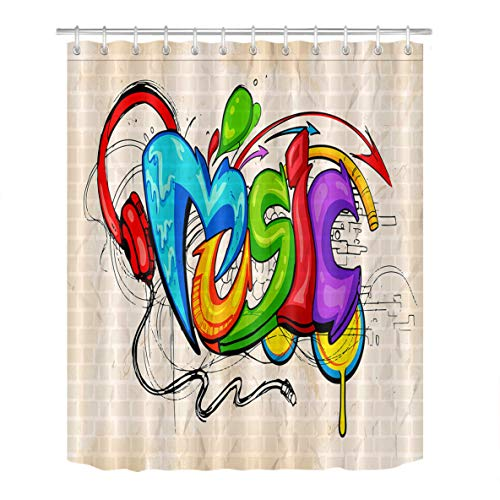 LB Graffiti Style Shower Curtain Set Music Letter Wall Art 3D Bathroom Curtains Polyester Fabric Durable Waterproof Bath Curtain Hooks Included 72x72 ()