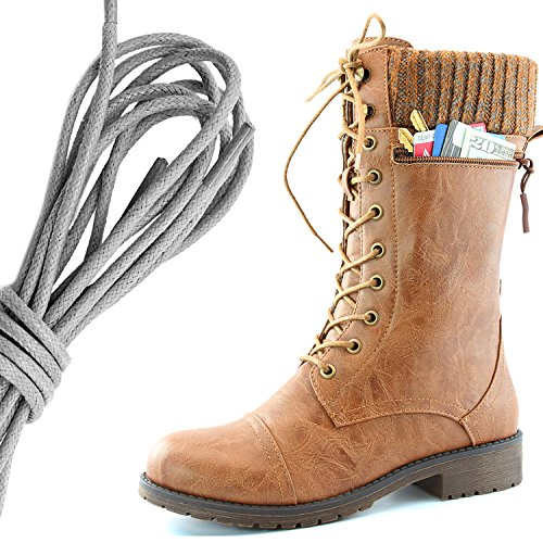 DailyShoes Womens Combat Style Lace up Ankle Bootie Round Toe Military Knit Credit Card Knife Money Wallet Pocket Boots, Gray Tan Pu