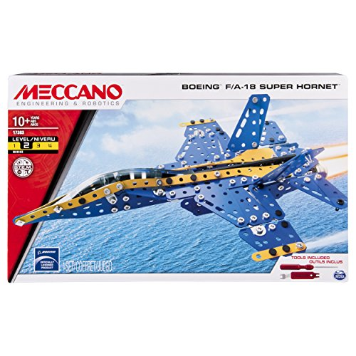 Jet Blue Landing Gear - Meccano-Erector – Boeing F/A-18 Super Hornet Building Set with Foldable Wings