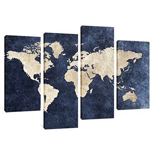 4 Panels Canvas Painting Abstract World Map Picture Printed on Canvas Giclee Artwork Stretched and Framed Wall Art For Home Decor (Navy) for $<!--$65.38-->