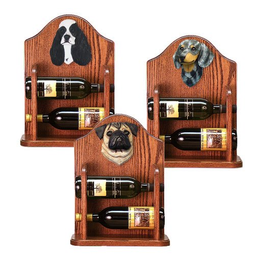 Greater Swiss Mountain Dog Wine Rack 2 Bottle Design in Dark Oak by Michael Park