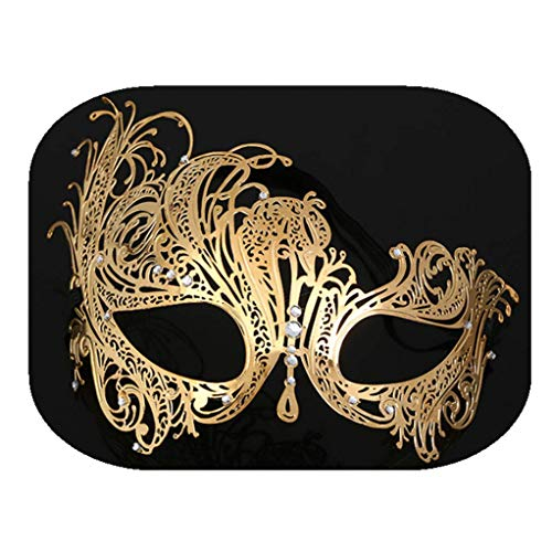 Cosplay Vintage Phoenix Halloween Costume Eye mask Collocation Drill Design Party Decoration Props (Gold) -