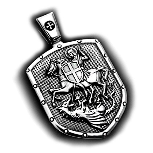 VENICEBEE ST.GEORGE ON HORSE KILLS DRAGON SHIELD CROSS MEDAL STERLING 925 SILVER PENDANT ()