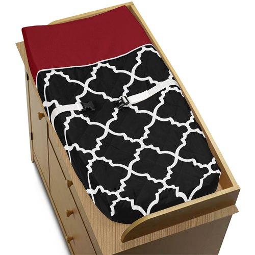 Red, Black and White Trellis Print Lattice Baby Changing Pad