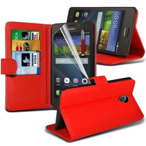 Huawei Ascend Y635 Cubierta del caso con cuero (Rojo) Plus de regalo libre, Protector de pantalla y un lápiz óptico, Solicitar ahora mejor caja del teléfono Valorado en Amazon! By FinestPhoneCases